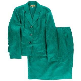 Kasper Womens The Golden Age Skirt Suit Jacquard 2PC
