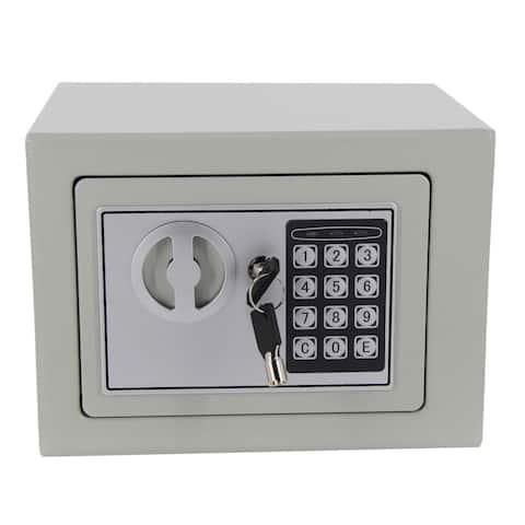 Digital Keypad Office/Home Mini Safe Box Steel Alloy Security Safe Grey - black