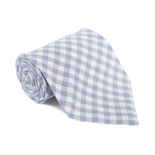 Tom Ford Mens Plaid Check Ivory Blue Cotton Classic Tie - One size