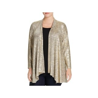 Calvin Klein Womens Plus Cardigan Top Metallic Long Sleeves