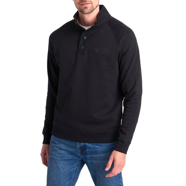 Barbour Mens Southwold Sweatshirt Embroidered Half Snap - Black - XXL. Opens flyout.