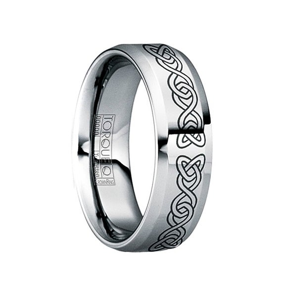 MARTINUS Engraved Celtic Tungsten Band with Raised Center & Polished Finish by Crown Ring - 6mm
