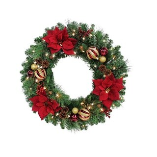 "Celebrations RYC-4P17-30 Royal Crimson Prelit Green Christmas Wreath, 30"""