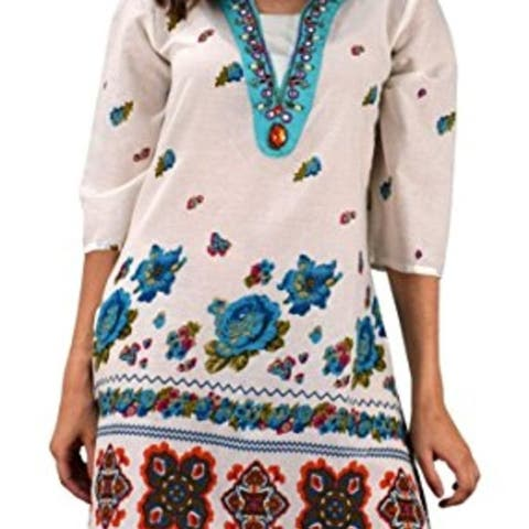 Summer Womens Boho Cotton Floral V-Neck Cover-up Beachwear Tunic - turquoise - medium