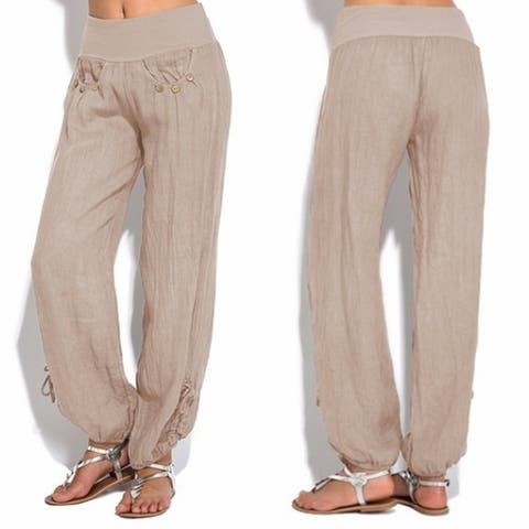 New Loose Button Trim Casual Wide-Leg Trousers