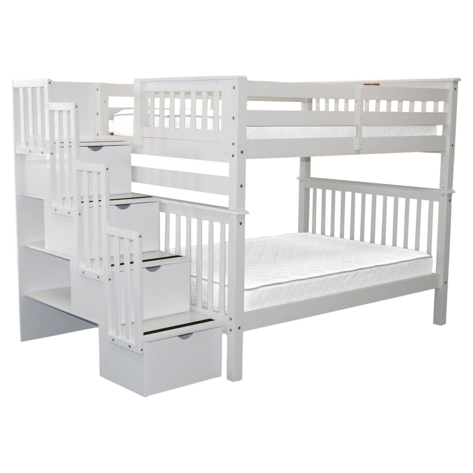 Picture of: Bedz King Stairway Bunk Beds Full Over Full With 4 Drawers In The Steps White Overstock 22669718