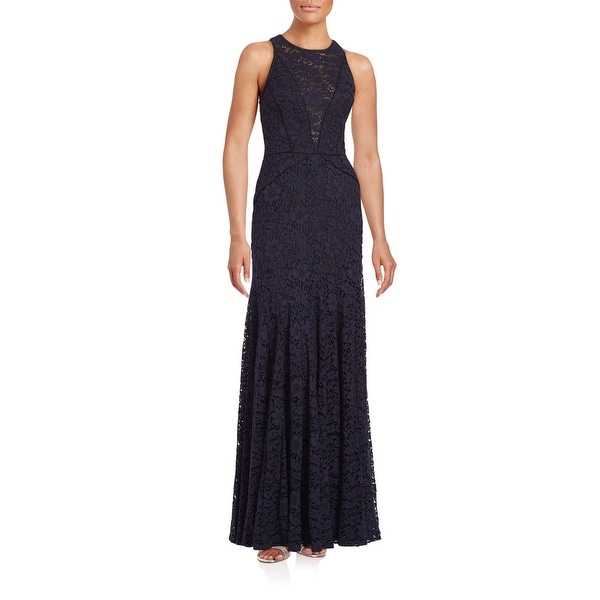 8464fe306513d Shop Vera Wang Floral Lace Trumpet Evening Gown Dress Navy - Free Shipping  Today - Overstock - 26281373