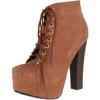 Breckelle's Britney-01 Lace Up Wooden Chunky High Heel Ankel Boot Bootie - blush