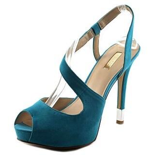 Guess Hilarie Women Open Toe Leather Blue Platform Sandal