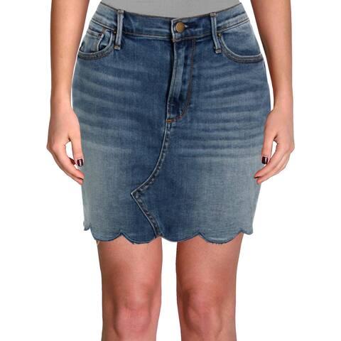 Aqua Womens Denim Skirt Scalloped Mini