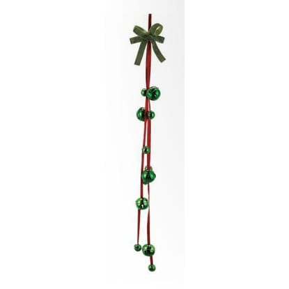 "36"" Decorative Red and Green Jingle Bell with Star Cutouts Garland Door Hanging"