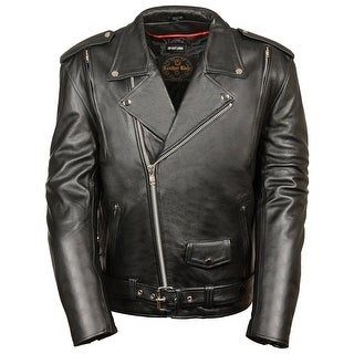 Mens Premium Black Leather Vented Motorcycle Jacket
