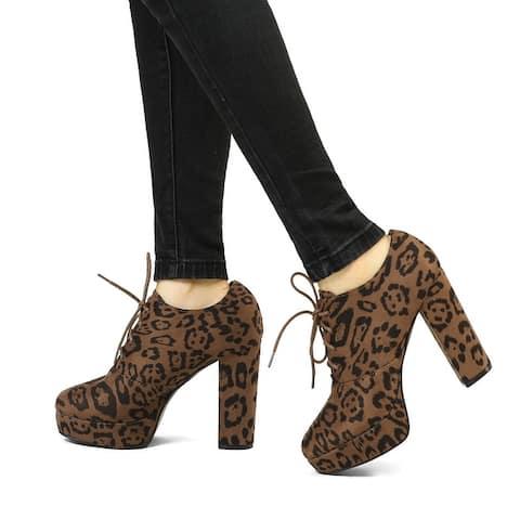Women's Leopard Print Platform Lace Up Ankle Boots