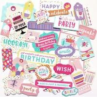 Happy Birthday Girl Cardstock Die-Cuts 33/Pkg-Frames & Tags