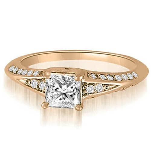 1.05 cttw. 14K Rose Gold Princess And Round Diamond Engagement Ring