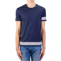 Versace  Men's Cotton Logo Graphic Crewneck T-Shirt Navy Blue