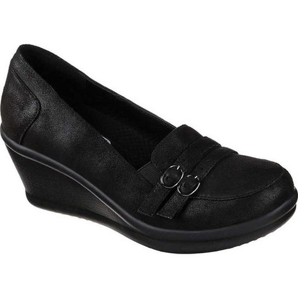 2d15af9b2894 Shop Skechers Women s Rumblers Frilly Wedge Loafer Black - Free Shipping  Today - Overstock - 24304423