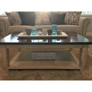 The Gray Barn O'Quinn Weathered Bark and White Castered Cocktail Table