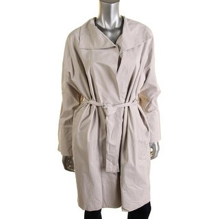 Pure DKNY Womens Drape Front Solid Trench Coat - M