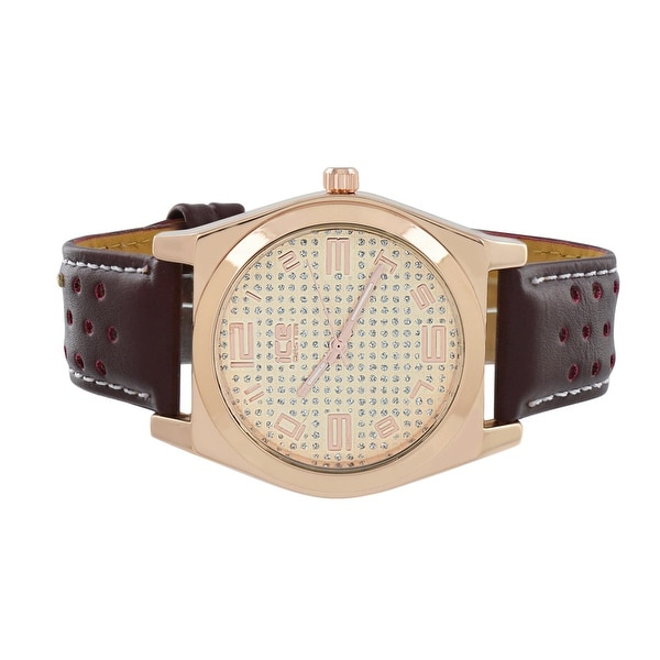 Mens New Watch Rose Gold Finish Dial Brown Leather Band Analog Display Stainless Steel Back