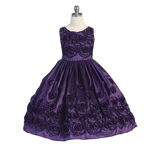 a04afe900e6f6 Chic Baby Purple Taffeta Floral Flocked Pageant Dress Little Girl 4-14