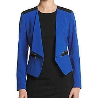 Nine West NEW Blue Women's Size 10 Zip Pocket Open Front Jacket