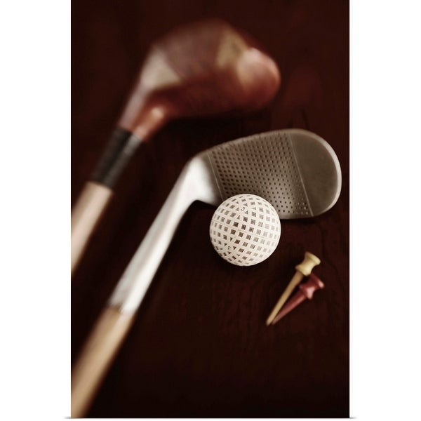 """""""Still life of vintage golf clubs, tees and ball"""" Poster Print"""
