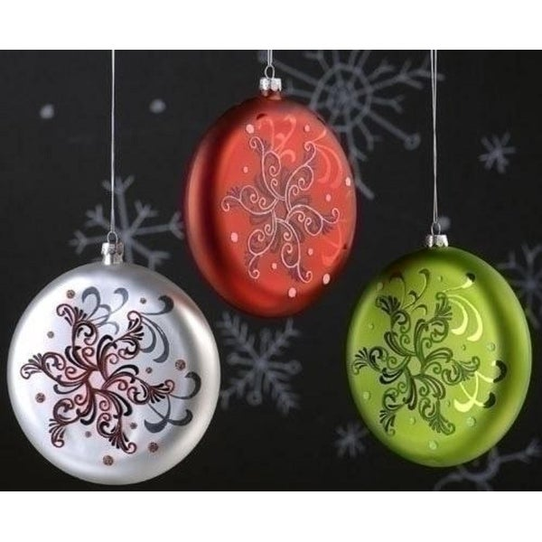 "5.5"" Holiday Cheer Red Glass Snowflake Christmas Disk Ornament"