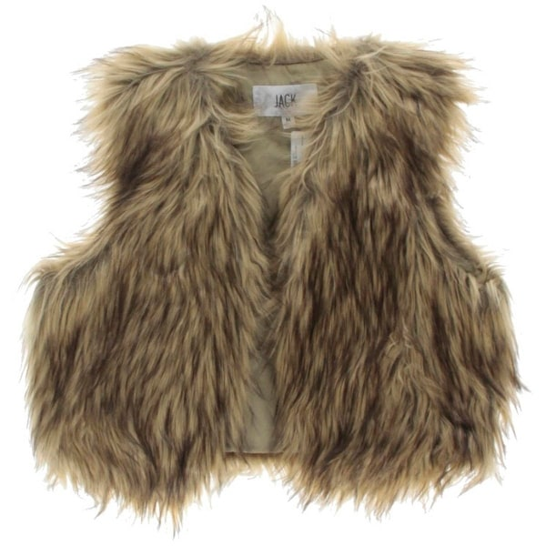 Jack Womens Casual Vest Faux Fur Open Front