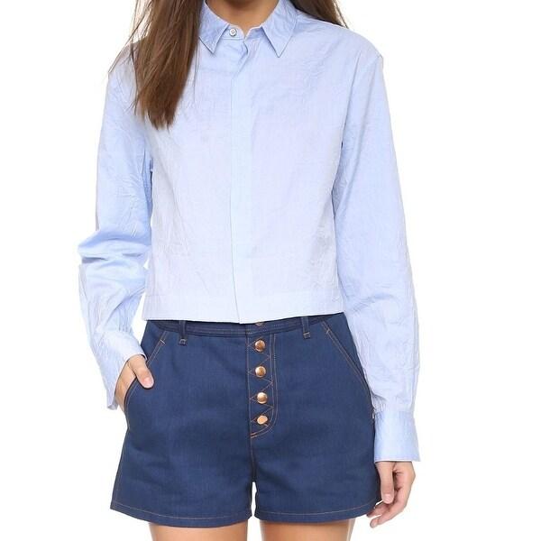 Rag  amp  Bone NEW Light Blue Womens Size 2 Cropped Button Down Shirt a3b50aaf2