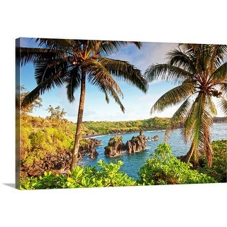 """Palm trees and coastline, wainapanapa state park at sunrise in Maui, Hawaii"" Canvas Wall Art"