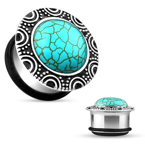 Turquoise Brass Single Flare Plug with O-Ring (Sold Individually)