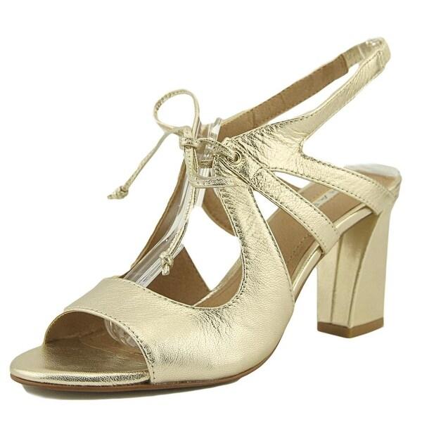 Tahari Night Women Open Toe Leather Gold Sandals