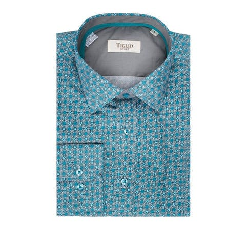 CLEARANCE Turquoise with Tan and White Pattern, Modern Fit, Long Sleeve Sport Shirt by Tiglio Sport FS6103/5