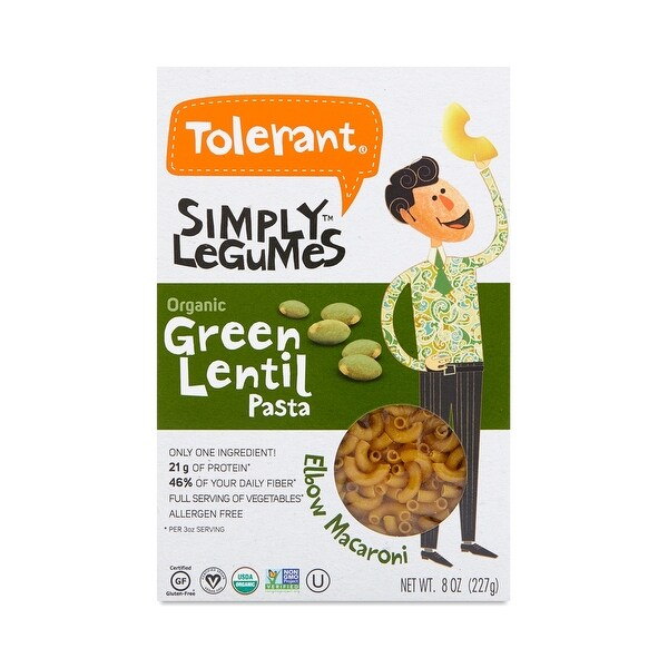 Tolerant Green Lentil Pasta - Elbows - Case of 6 - 8 oz.