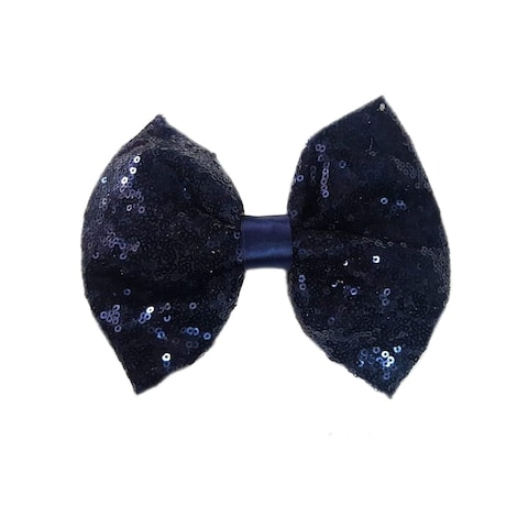 Girls Navy Sequin Bow Hair Clippie - One Size