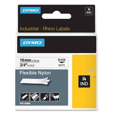 Dymo 18489 dymo rhino 3/4in x 11.5ft, white flexible nylon labels