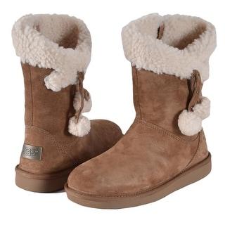 Women's UGG Australia PLUMDALE Chestnut Sheepskin Charm Short Boots Shoes