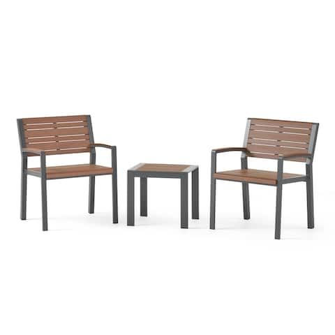 Davos Outdoor Aluminum Outdoor 3 Piece Chat Set by Christopher Knight Home