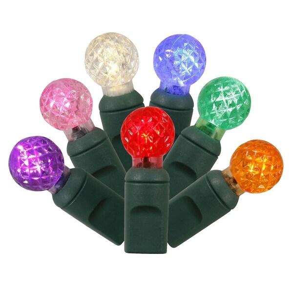 """Set of 100 Multi-Colored LED G12 Berry Christmas Lights 4"""" Spacing - Green Wire"""