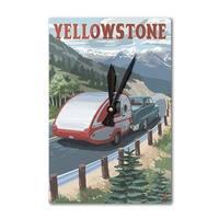 Yellowstone, MT - Retro Camper - LP Artwork (Acrylic Wall Clock) - acrylic wall clock