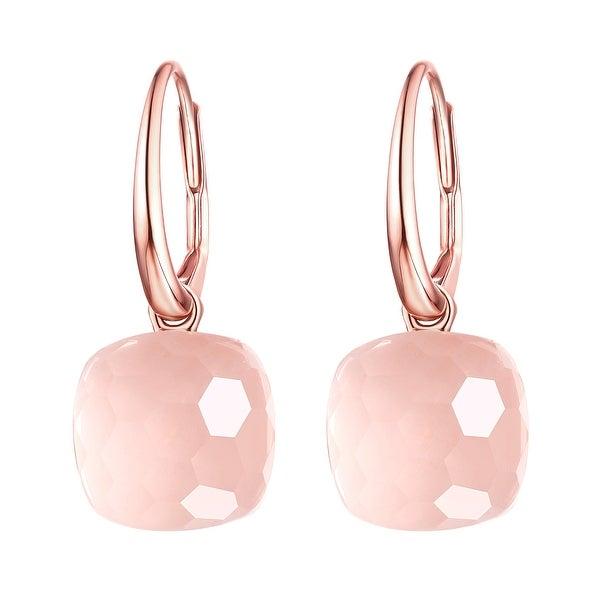 Vedantti Magic Honeycomb Cut Rose Quartz Gemstone Diva Leverback Earring
