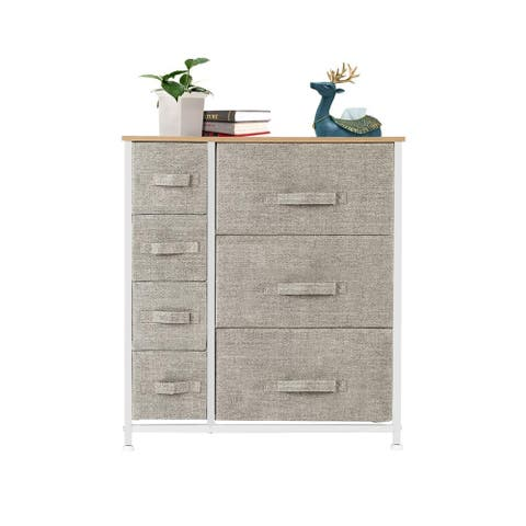 Dresser with 3 Big 4 Small Drawers,Furniture Storage Tower Unit,Linen