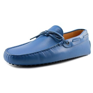 Tod's Lacetto Fod.+Sott.Montone N.G.122 Men Square Toe Leather Blue Loafer