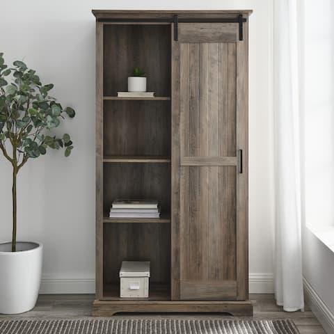 The Gray Barn Tall Sliding Groove Door Storage Cabinet