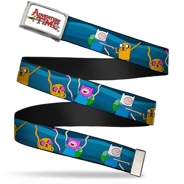 Adventure Time Logo Fcg White Chrome Finn & Jake Fist Bump Webbing Web Belt