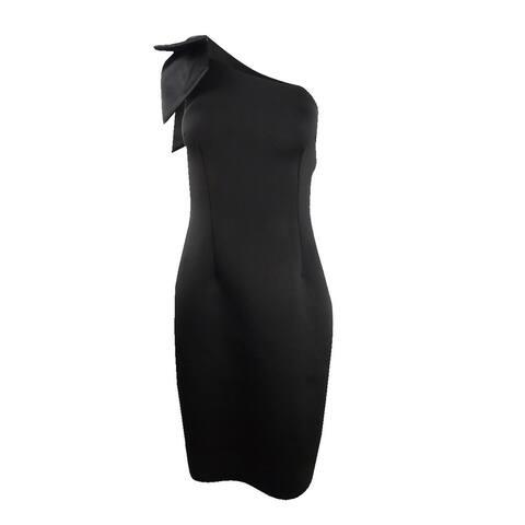Betsy & Adam Women's Bow One-Shoulder Dress - Black