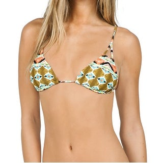 Volcom NEW Green Women's Size Medium M Bikini Top Printed Triangle Swimwear