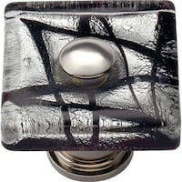 Atlas Homewares 3207 Glass 1-1/2 Inch Square Cabinet Knob - Polished chrome