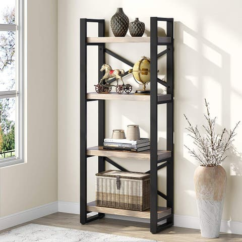 Tribesigns Rustic 5-Tier Open Solid Wood Bookshelf Bookcase Etagere